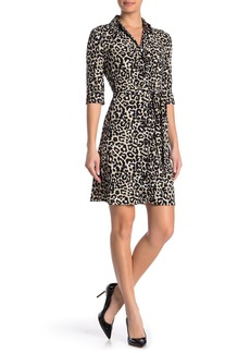 Laundry by Shelli Segal Leopard Print Tie Waist Shirt Dress