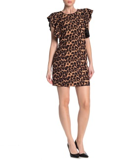 Laundry by Shelli Segal Leopard Ruffle Sleeve Mini Dress (Regular & Plus Size)