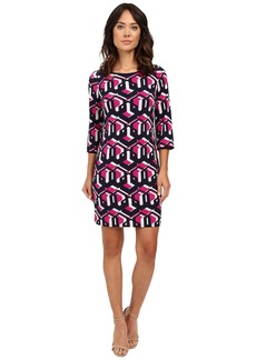 "Laundry by Shelli Segal ""Lock Eyes"" 3/4 Sleeve Printed Matte Jersey Dress"