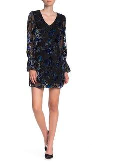 Laundry by Shelli Segal Long Sleeve Burnout Velvet Dress