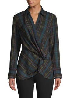 Laundry by Shelli Segal Long-Sleeve Plaid Blouse