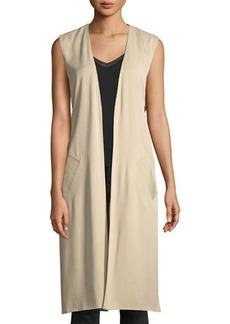 Laundry by Shelli Segal Long Tie-Back Slit-Side Vest