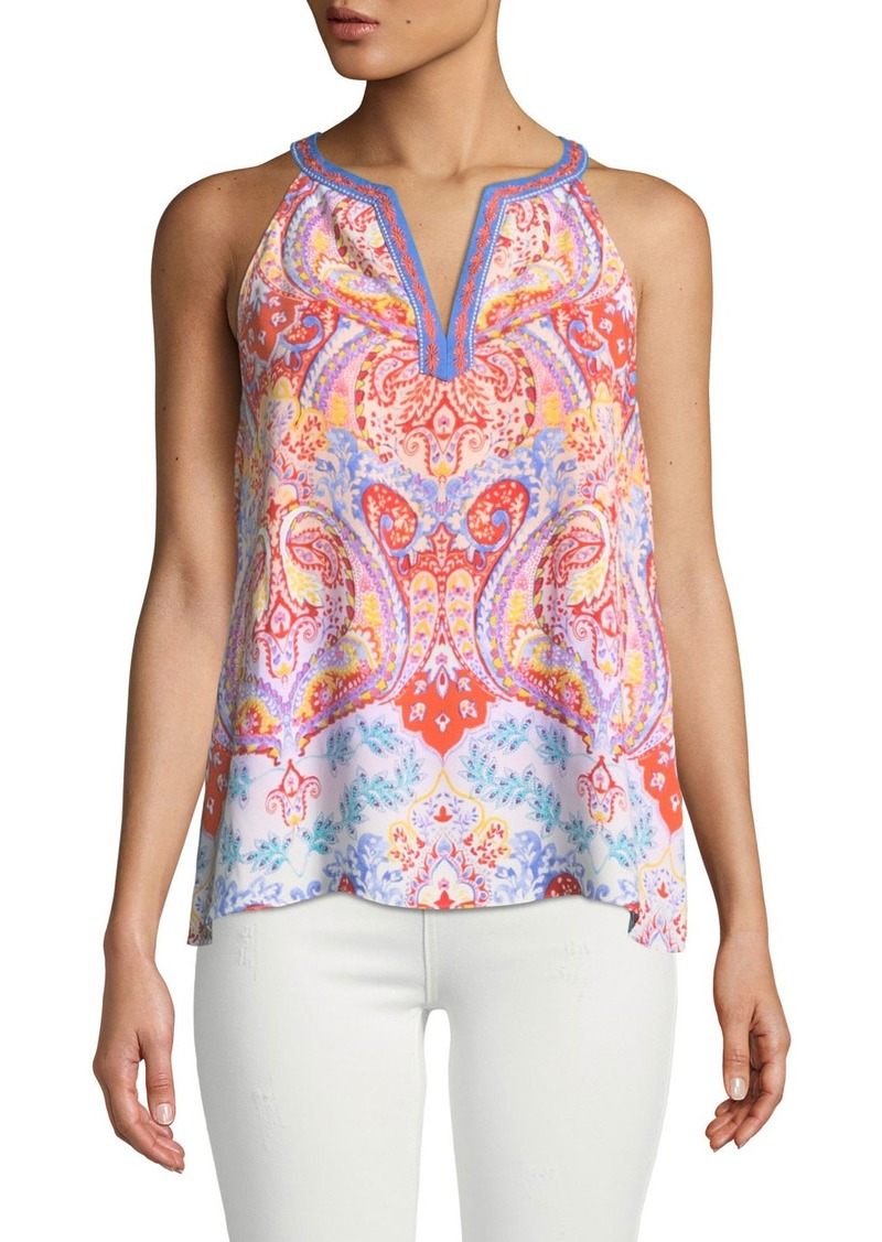 Laundry by Shelli Segal Medallion-Print Crisscross Back Tank