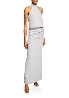 Laundry by Shelli Segal Metallic Halter Drop-Waist Column Gown