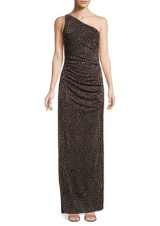Laundry by Shelli Segal Metallic Leopard-Print One-Shoulder Gown