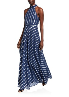 Laundry by Shelli Segal Metallic Striped Bow-Back Gown