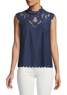 Laundry by Shelli Segal Mock-Neck Lace Illusion Tank
