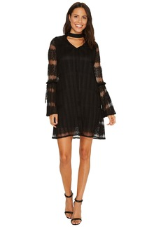 Laundry by Shelli Segal Mock Neck Pleated Lace Dress