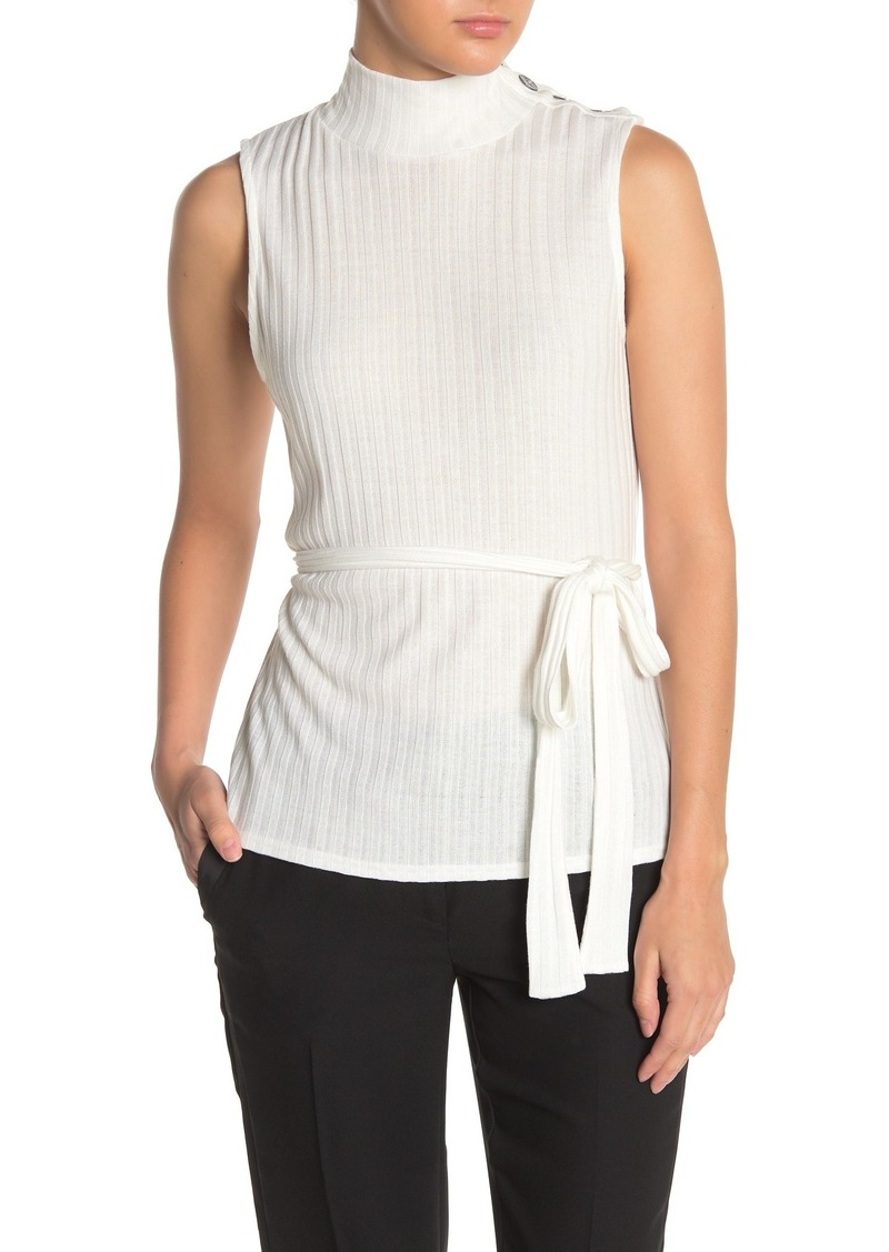 Laundry by Shelli Segal Mock Neck Tie Waist Rib Knit Top