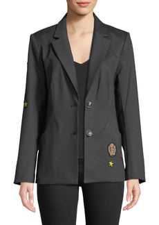 Laundry by Shelli Segal Notched-Collar Striped Jacket with Patches