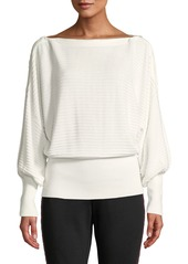 Laundry by Shelli Segal Novelty Ribbed Zip-Neck Sweater