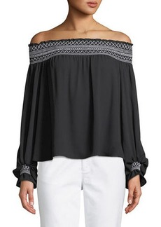 Laundry by Shelli Segal Off-The-Shoulder Balloon-Sleeve Blouse