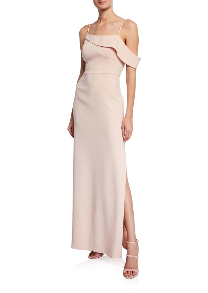 Laundry by Shelli Segal Off-the-Shoulder Crepe Column Gown