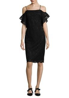 Laundry by Shelli Segal Off-The-Shoulder Flutter Sleeve Sheath Dress