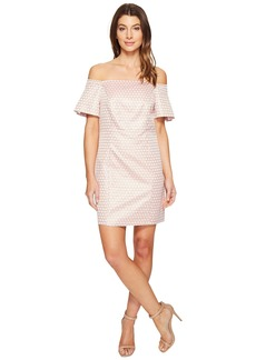 Laundry by Shelli Segal Off the Shoulder Metallic Dot Jacquard Shift Dress