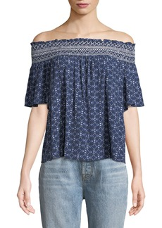 Off-The-Shoulder Short-Sleeve Blouse