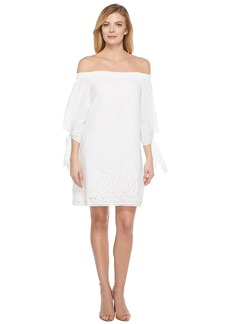 Laundry by Shelli Segal Off the Shoulder Tie Sleeve Dress w/ Embroidered Hem