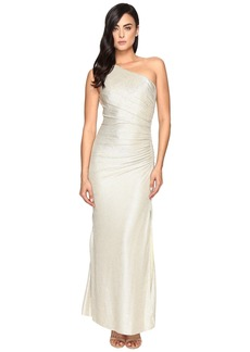 Laundry by Shelli Segal One Shoulder Foil Gown