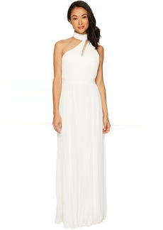 One Shoulder Mock Neck Shirred Chiffon Gown