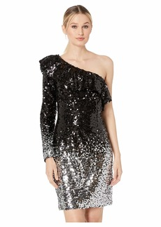 Laundry by Shelli Segal One Shoulder Ombre Sequin Cocktail Dress