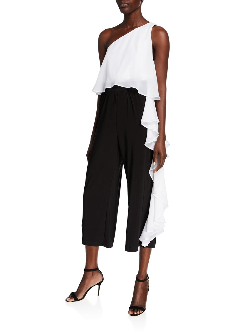 Laundry by Shelli Segal One-Shoulder Ruffle Cropped Jumpsuit