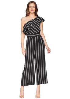 Laundry by Shelli Segal One Shoulder Stripe Jumpsuit with Pockets