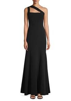 Laundry by Shelli Segal One Shouldered Crepe Gown