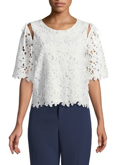Laundry by Shelli Segal Open-Shoulder Crochet Lace Blouse