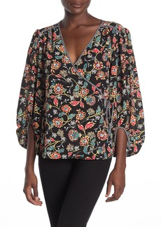Laundry by Shelli Segal Paisley Balloon Sleeve Wrap Top