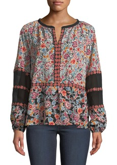 Laundry by Shelli Segal Patchwork Print Balloon-Sleeve Blouse