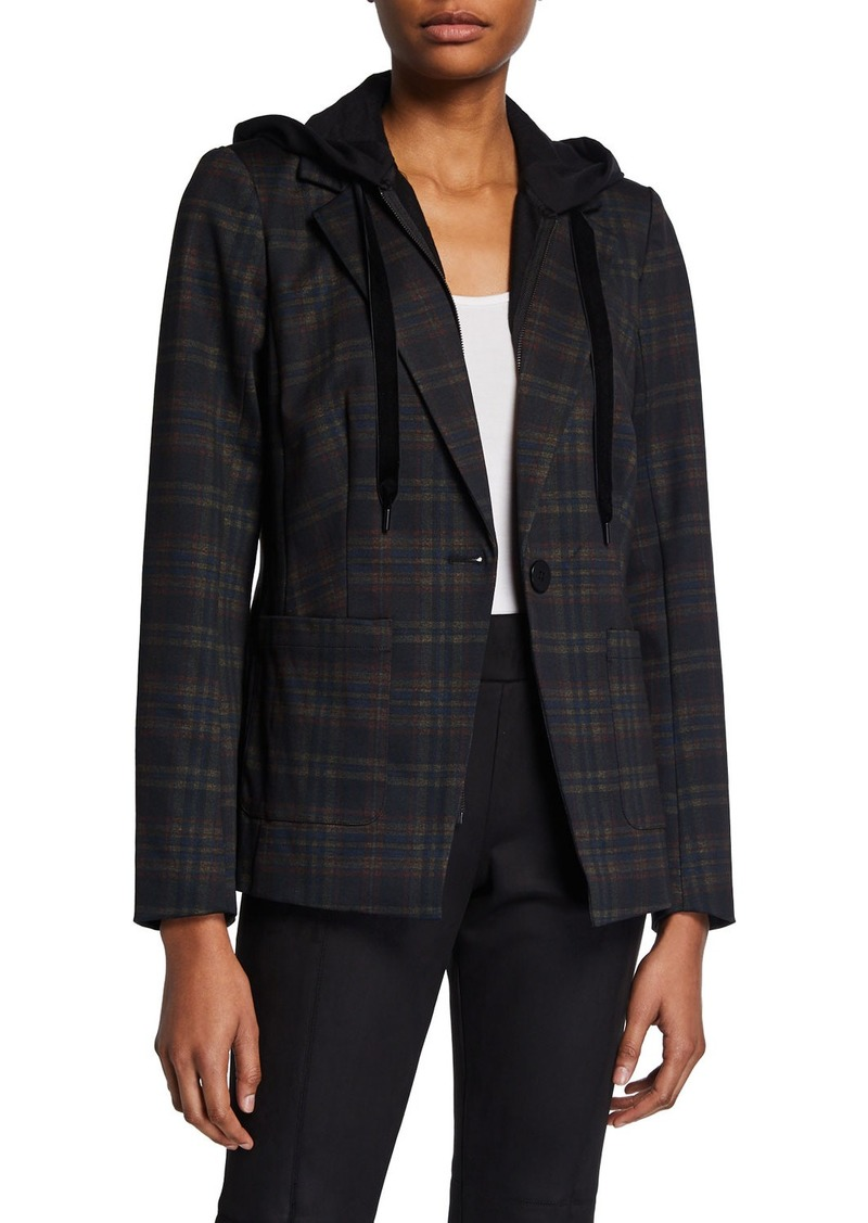 Laundry by Shelli Segal Plaid Blazer w/Hoodie