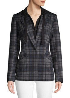 Laundry by Shelli Segal Plaid Hooded Blazer