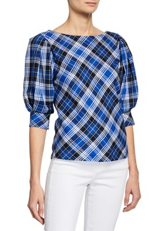 Laundry by Shelli Segal Plaid Puff-Sleeve Top