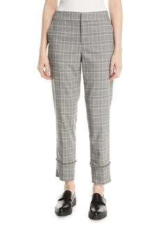 Laundry by Shelli Segal Plaid Roll-Cuff Cropped Trouser Pants