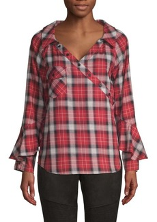 Laundry by Shelli Segal Plaid Ruffle-Sleeve Shirt
