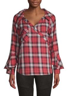 Laundry by Shelli Segal Plaid Ruffle-Sleeve Shirt