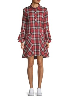 Laundry by Shelli Segal Plaid Ruffle-Sleeve Shirtdress