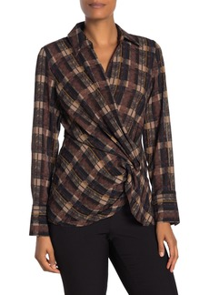 Laundry by Shelli Segal Plaid Twist Front Blouse