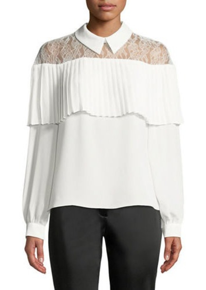 Laundry by Shelli Segal Pleated-Trim Lace-Yoke Collared Blouse