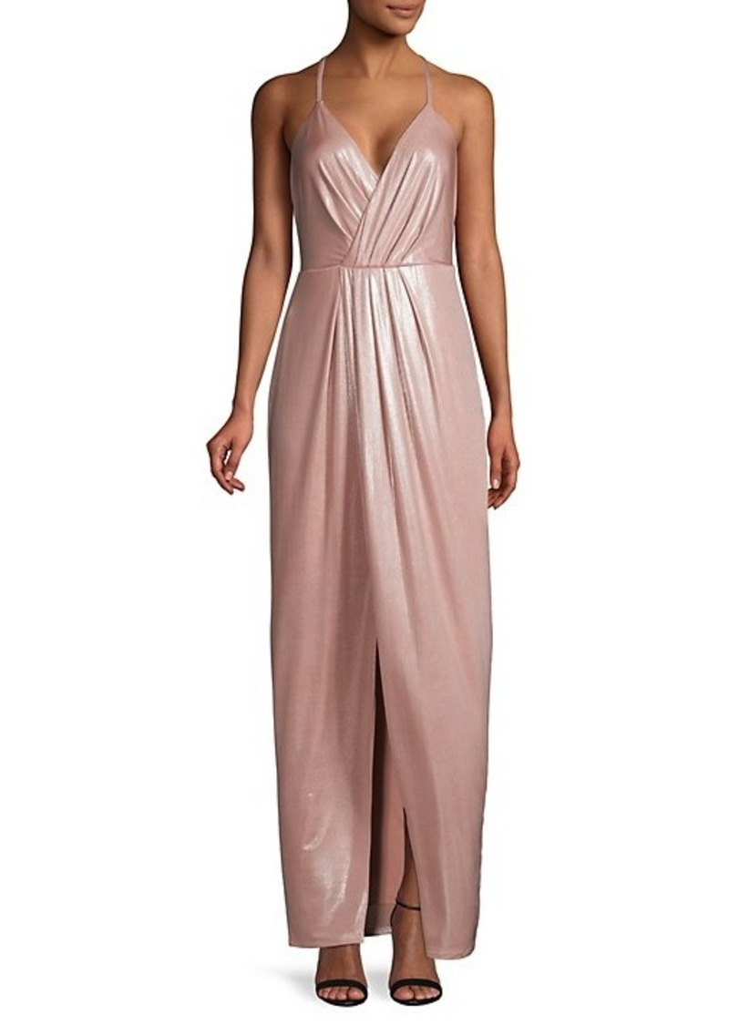 Laundry by Shelli Segal Plunging Front-Slit Gown