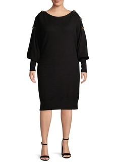 Laundry by Shelli Segal Plus Textured Boatneck Dress
