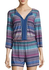 Laundry by Shelli Segal Printed Bell-Sleeves Romper