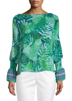 Laundry by Shelli Segal Printed Bishop-Sleeve Blouse