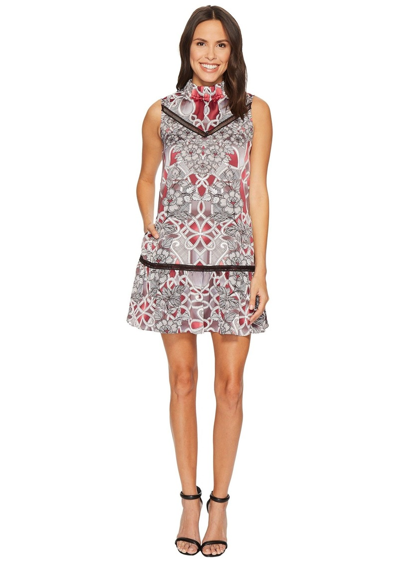 Laundry by Shelli Segal Printed Mock Neck A-Line Dress