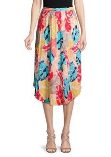 Laundry by Shelli Segal Printed Pleated Midi Skirt