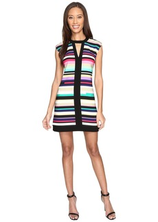 Laundry by Shelli Segal Printed Shift Dress w/ Black Banding