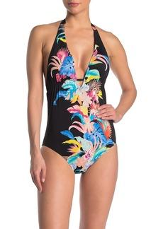 Laundry by Shelli Segal Rainflorist Plunge One-Piece Swimsuit