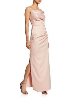 Laundry by Shelli Segal Ruche Floor-Length Satin Gown