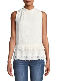 Laundry by Shelli Segal Ruched-Neck Sleeveless Lace Blouse