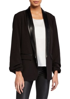 Laundry by Shelli Segal Ruched-Sleeve Blazer w/ Faux-Leather Trim